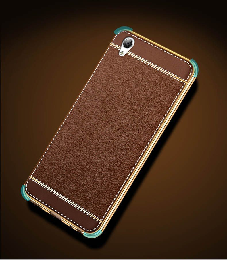 Vaku 174 Oppo A37 Leather Stiched Gold Electroplated Soft